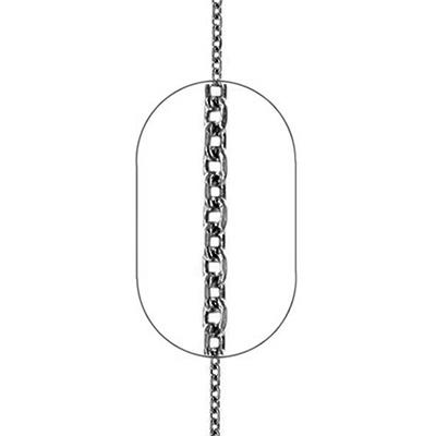 """Εικόνα του """"Ασημένια ανδρική αλυσίδα Forzatina #3 μαύρο ρόδιο 60cm"""""""