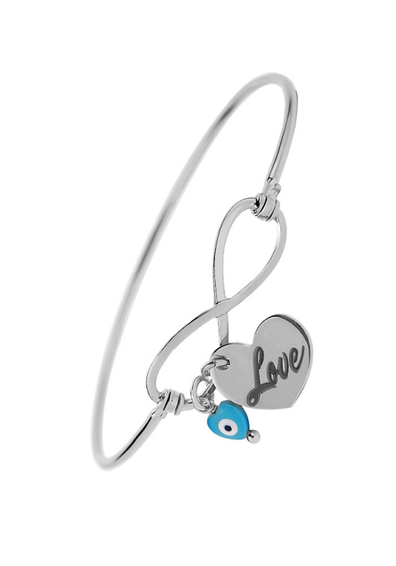 """Image of """"Infinity bracelet with Love Charm, silver 925"""""""