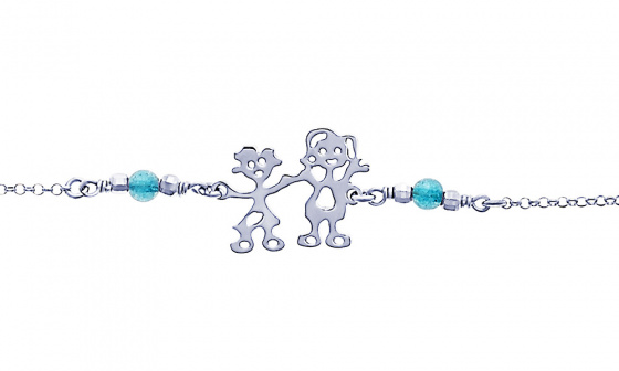 "Image of """"Mom & Little Girl"" silver bracelet"""