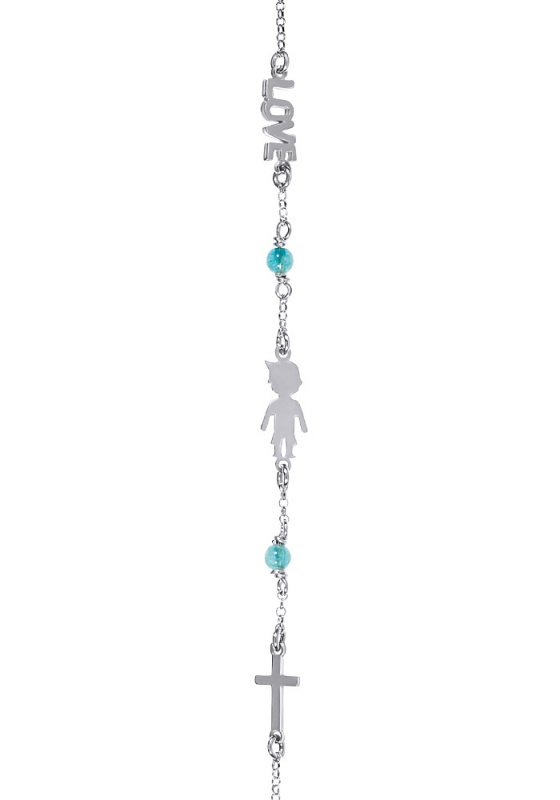 "Image of ""Bracelet with boy, love and cross, silver 925"""