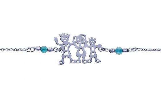 "Image of """"Dad, Mom & Little Boy"" silver bracelet"""