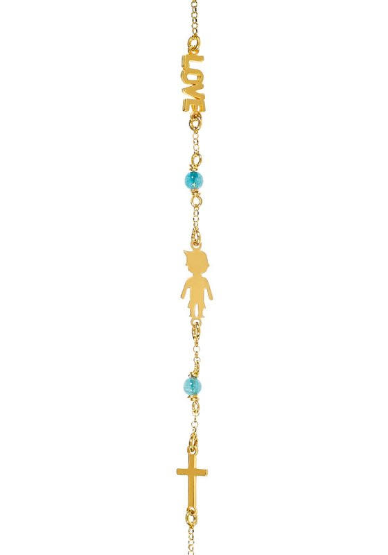 "Image of ""Bracelet with boy, love and cross, silver 925 goldplated"""