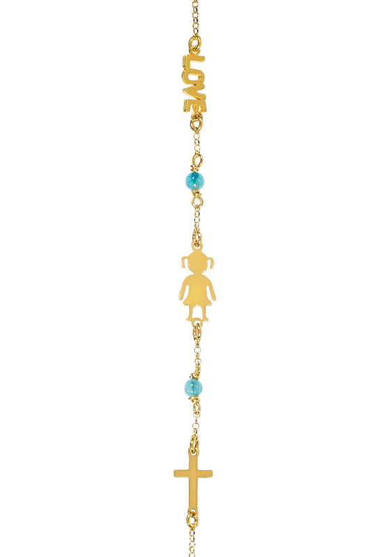 """Εικόνα του """"Βραχιόλι με παιδάκι, love και σταυρό (Μπλέ, Επίχρυσο ασήμι 925)"""""""