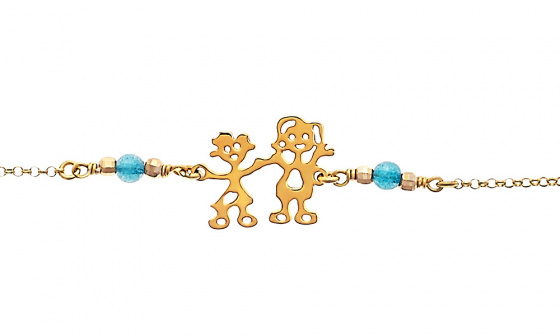 "Image of """"Mom & Little Girl"" silver bracelet gold plated"""