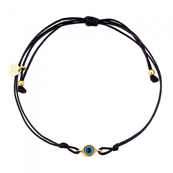 "Image of ""Cord bracelet with gold plated eye charm"""
