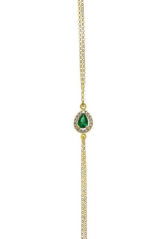 "Image of """"A Green Teardrop"" silver bracelet gold plated"""