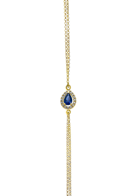 "Image of """"A Blue Teardrop"" silver bracelet gold plated"""