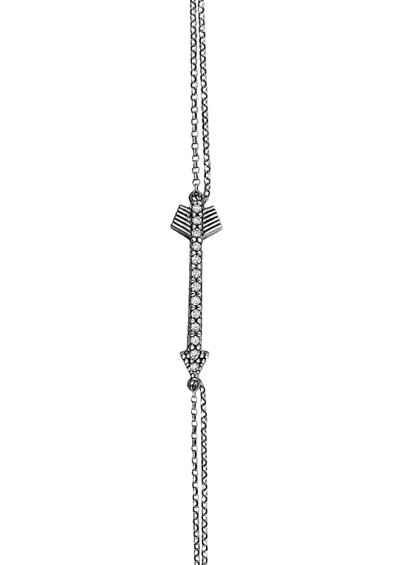"Image of """"Shiny Arrow #1"" silver bracelet black rhodium plated"""