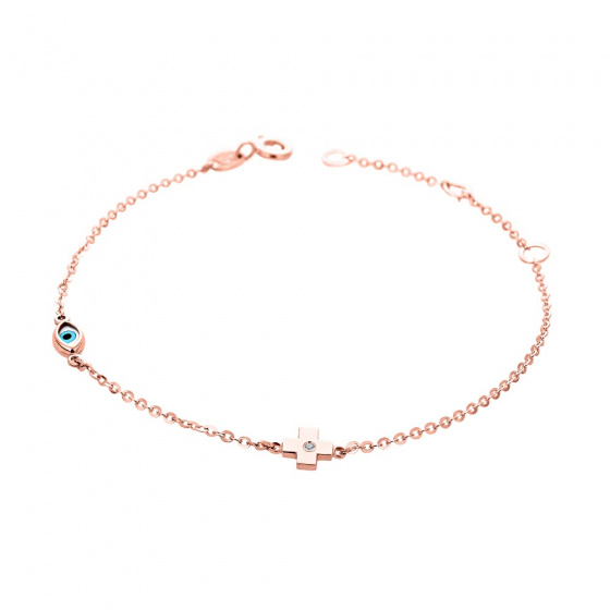 "Image of """"Charming Cross"" rose gold bracelet K14"""