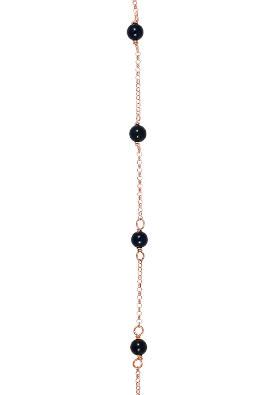 """Image of """"Rosary bracelet rosegold K14 with Onyx 18cm"""""""