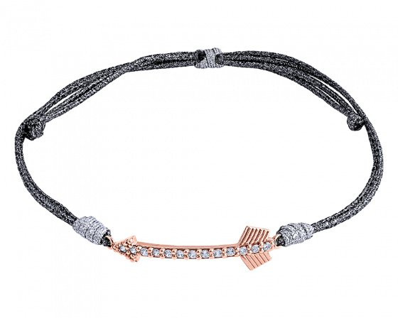 "Image of """"Shiny Arrow #2"" silver bracelet rose gold plated"""