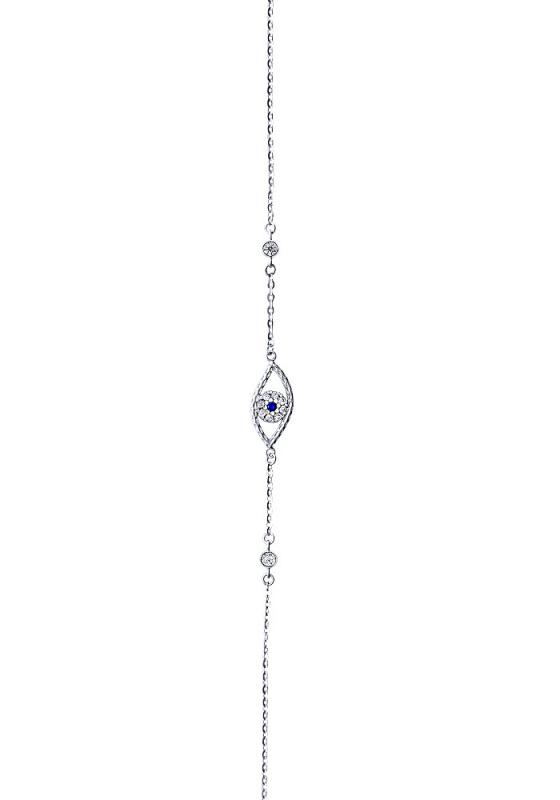 """Image of """"""""Blue zircons eye"""" white gold bracelet K9"""""""