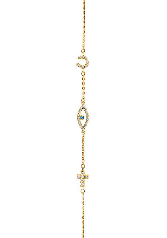 "Image of """"Evil Eye Charm"" gold bracelet K14"""