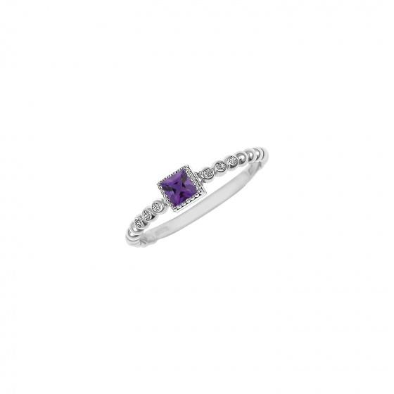 """Εικόνα του """"Ασημένιο δαχτυλίδι """"Purple Square Top"""""""""""