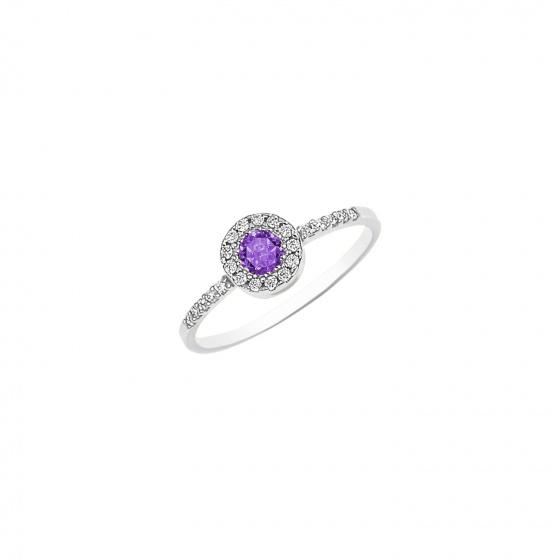 """Εικόνα του """"Ασημένιο δαχτυλίδι """"Purple Peony"""""""""""