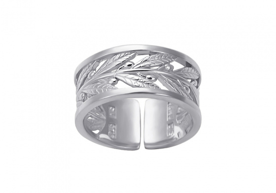 """Image of """"""""Olive Branch"""" silver ring"""""""