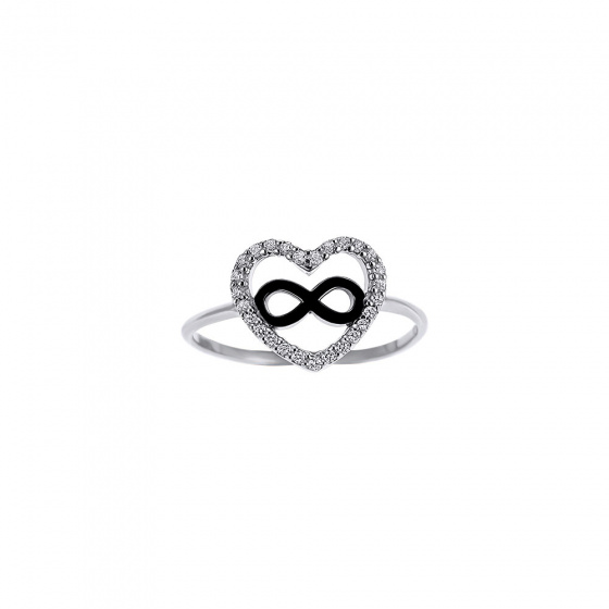 "Image of """"Heart & Infinity #1"" silver ring"""