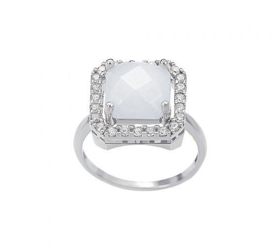 "Image of """"Square White Jade"" silver ring"""