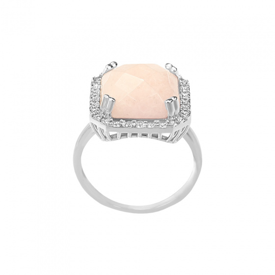"Image of """"Square Pink Jade"" silver ring"""