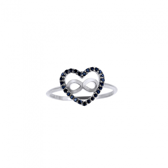 """Image of """"""""Heart & Infinity #2"""" silver ring"""""""