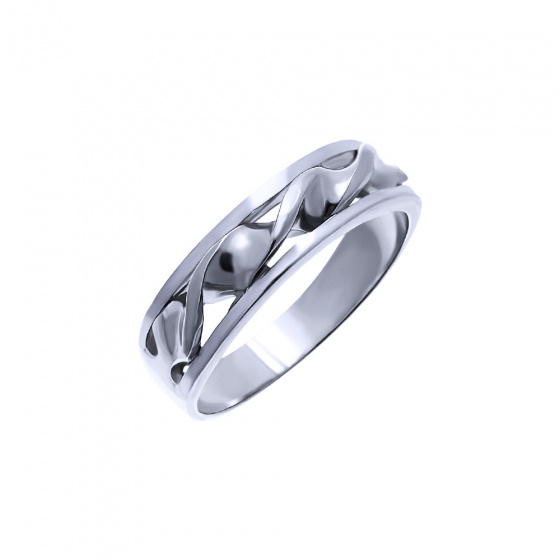 "Image of """"Double Helix #2"" silver ring"""