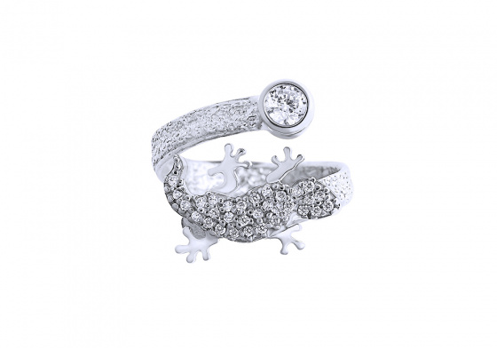 "Image of """"Shiny Lizard"" silver ring"""