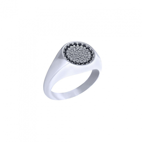 "Image of """"Basuto"" signet chevalier silver ring"""