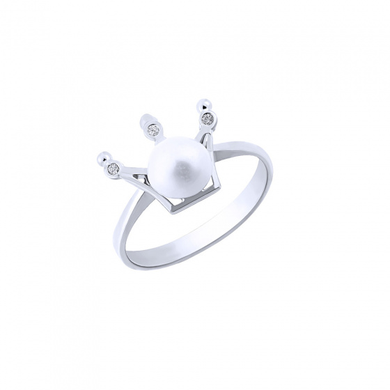 """Image of """"""""Pearly Crown"""" silver ring"""""""
