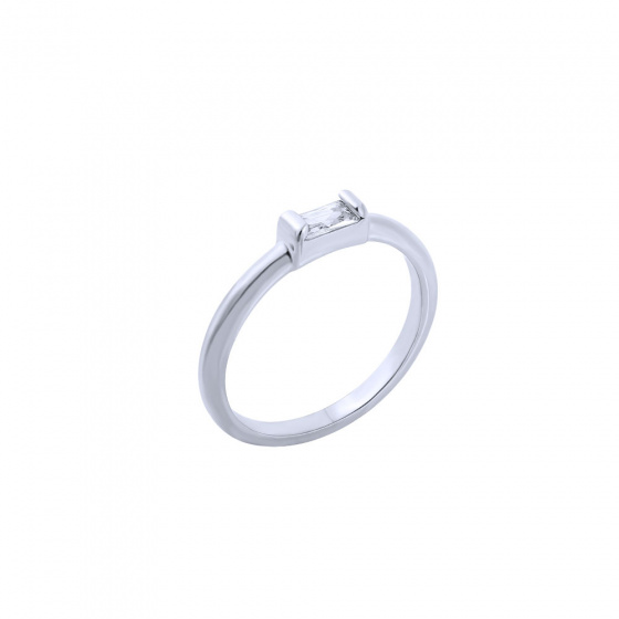"""Image of """"""""Exquisite White Baguette"""" silver ring"""""""