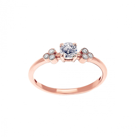 "Image of """"Triple Vintage White"" rose gold ring K9"""