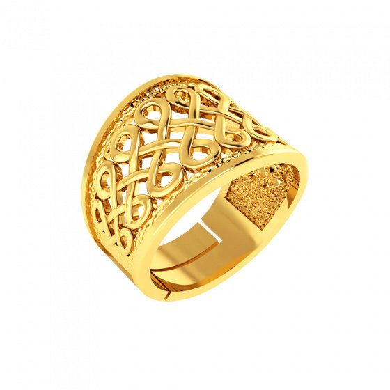 "Image of """"Thousand Knots"" silver ring gold plated"""