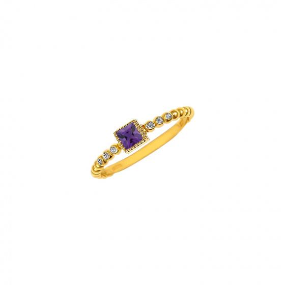 """Εικόνα του """"Ασημένιο δαχτυλίδι """"Purple Square Top"""" επίχρυσο"""""""