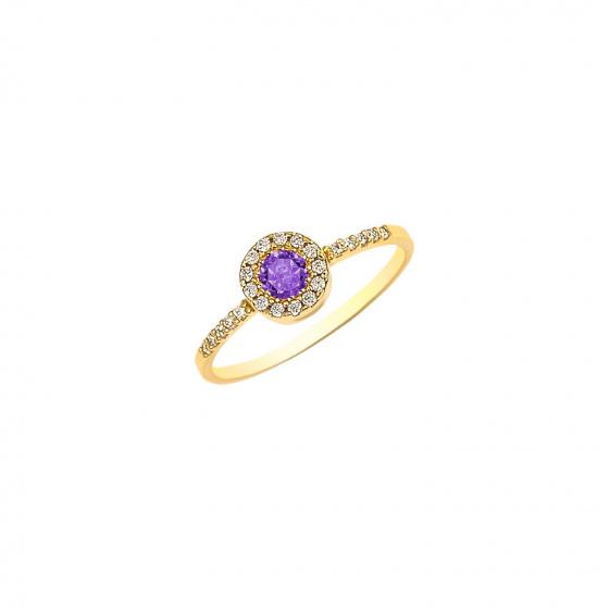 """Εικόνα του """"Ασημένιο δαχτυλίδι """"Purple Peony"""" επίχρυσο"""""""