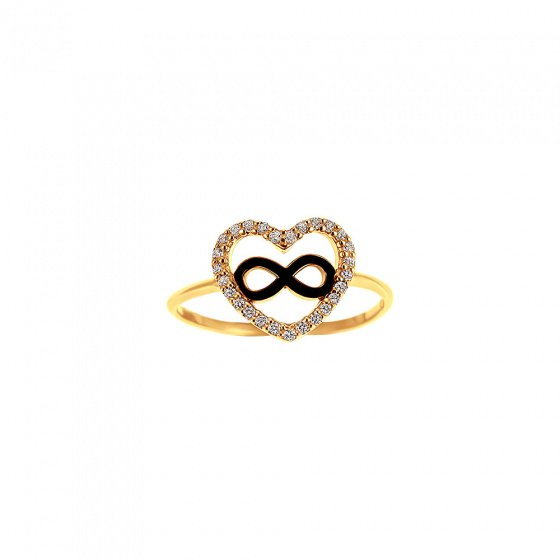 """Image of """"""""Heart & Infinity #1"""" silver ring gold plated"""""""