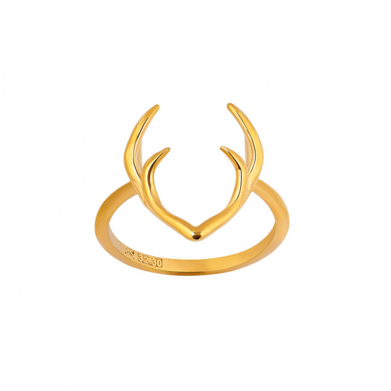 """Image of """"""""Deer Horns"""" silver ring gold plated"""""""