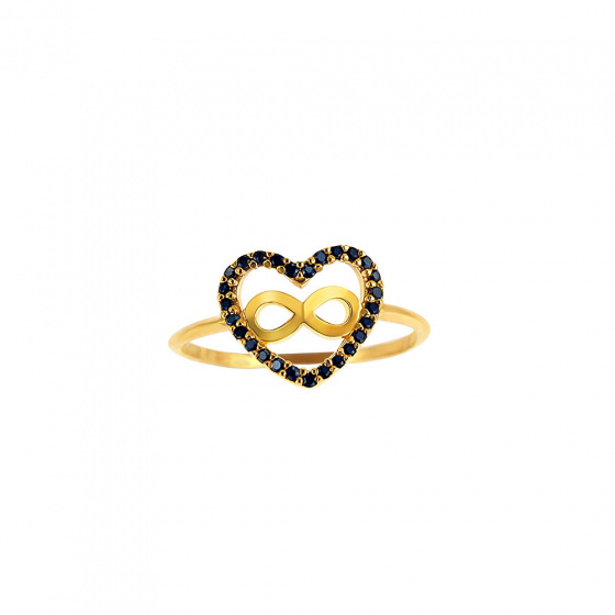 "Image of """"Heart & Infinity #2"" silver ring gold plated"""