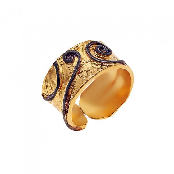 "Image of """"Ionic Rythm"" silver ring gold plated"""