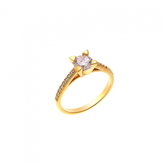 """Image of """"""""Chivalry"""" silver ring gold plated"""""""