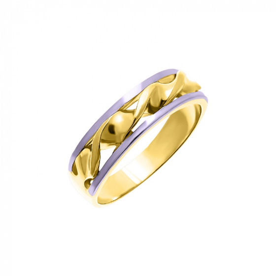 "Image of """"Double Helix #2"" silver ring gold plated"""