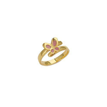 "Image of """"Lovely Butterfly"" silver children's ring gold plated"""