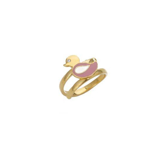 "Image of """"Lovely Bird"" silver children's ring gold plated"""