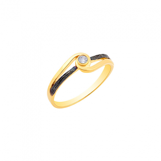 """Image of """"""""Epicenter"""" silver ring gold plated"""""""