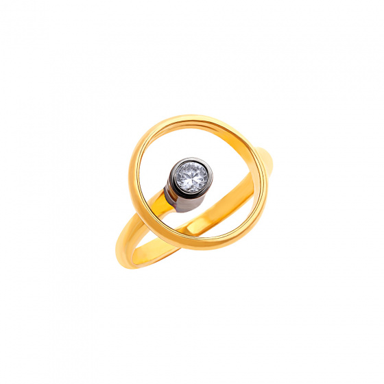 "Image of """"Transparent Circle"" silver ring gold plated"""