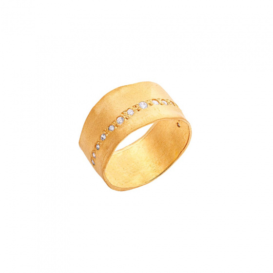 "Image of """"Natural Effect"" silver chevalier ring gold plated"""