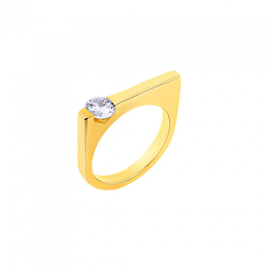 "Image of """"Rock Scepter"" silver ring gold plated"""
