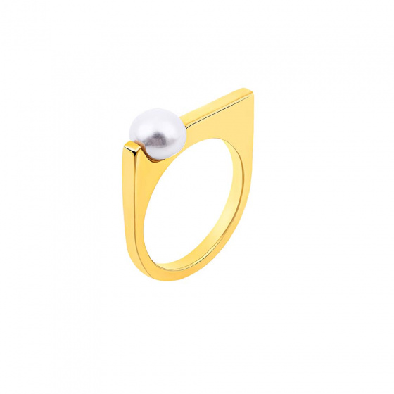 """Image of """"""""Pearl Scepter"""" silver ring gold plated"""""""