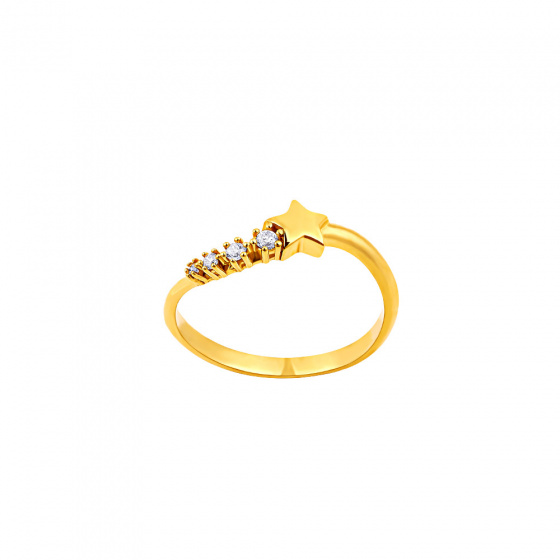"""Image of """"""""Lucky Star"""" silver ring gold plated"""""""