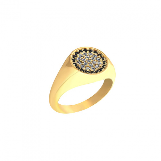 "Image of """"Basuto"" signet chevalier silver ring gold plated"""