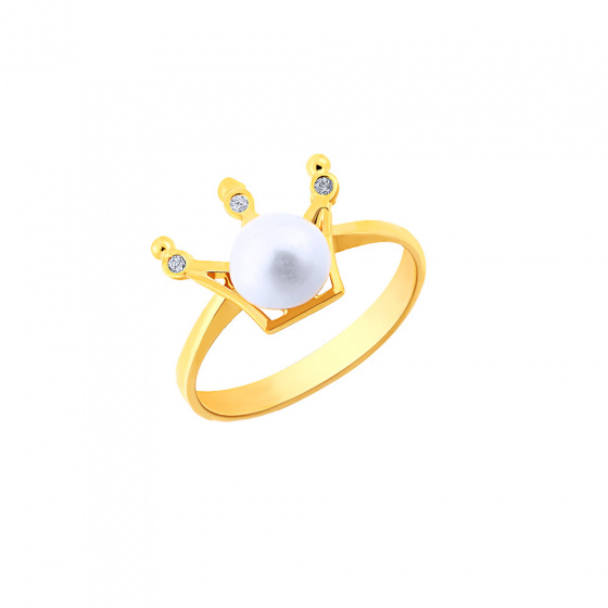 """Image of """"""""Pearly Crown"""" silver ring gold plated"""""""