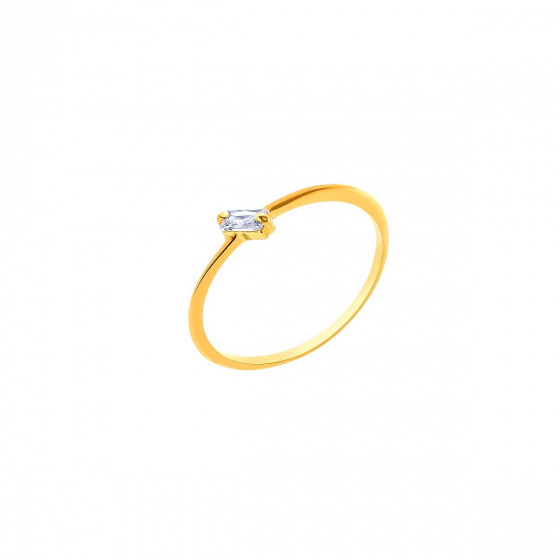 """Image of """"""""Baguette"""" silver ring gold plated"""""""